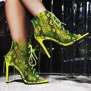 Lime snake clear stiletto heel